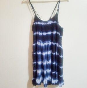 Beachy Blue/White Surfer Cross-back Strap Dress M